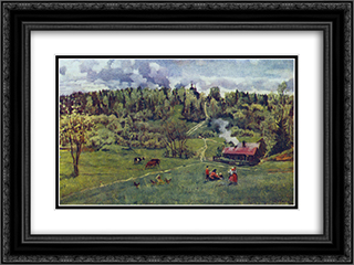Green May 24x18 Black or Gold Ornate Framed and Double Matted Art Print by Konstantin Yuon