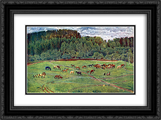 Herd 24x18 Black or Gold Ornate Framed and Double Matted Art Print by Konstantin Yuon