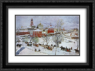 In Sergiyev Posad 24x18 Black or Gold Ornate Framed and Double Matted Art Print by Konstantin Yuon