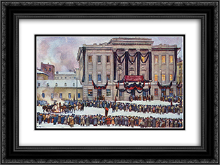 In those days. At the House of Unions in the days of Lenin's funeral 24x18 Black or Gold Ornate Framed and Double Matted Art Print by Konstantin Yuon