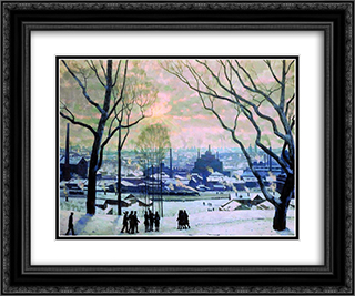 Industrial Moscow 24x20 Black or Gold Ornate Framed and Double Matted Art Print by Konstantin Yuon