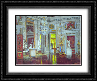 Italian Hall Ostankino Palace 24x20 Black or Gold Ornate Framed and Double Matted Art Print by Konstantin Yuon