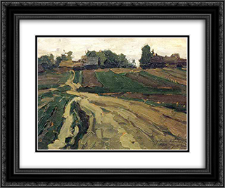 Landscape 24x20 Black or Gold Ornate Framed and Double Matted Art Print by Konstantin Yuon