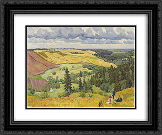 Landscape of Novgorod Governorate 24x20 Black or Gold Ornate Framed and Double Matted Art Print by Konstantin Yuon