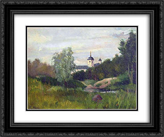 Landscape with a church 24x20 Black or Gold Ornate Framed and Double Matted Art Print by Konstantin Yuon