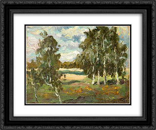 Landscape with Birches 24x20 Black or Gold Ornate Framed and Double Matted Art Print by Konstantin Yuon