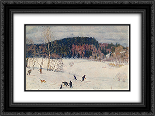 Landscape with Skiers 24x18 Black or Gold Ornate Framed and Double Matted Art Print by Konstantin Yuon