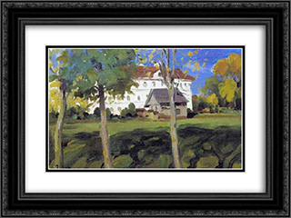 Landscape with white house 24x18 Black or Gold Ornate Framed and Double Matted Art Print by Konstantin Yuon