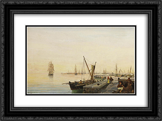 A busy harbour 24x18 Black or Gold Ornate Framed and Double Matted Art Print by Konstantinos Volanakis