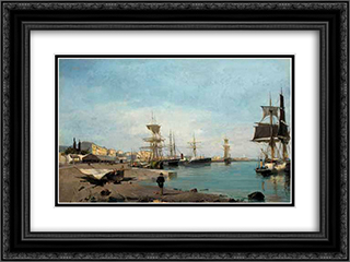 Admiring the ships 24x18 Black or Gold Ornate Framed and Double Matted Art Print by Konstantinos Volanakis