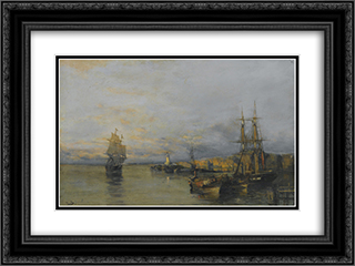 Along the coast 24x18 Black or Gold Ornate Framed and Double Matted Art Print by Konstantinos Volanakis