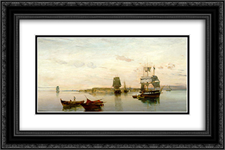 Anchored boats 24x16 Black or Gold Ornate Framed and Double Matted Art Print by Konstantinos Volanakis