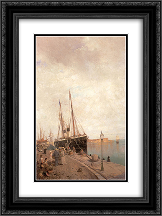 At the dock 18x24 Black or Gold Ornate Framed and Double Matted Art Print by Konstantinos Volanakis