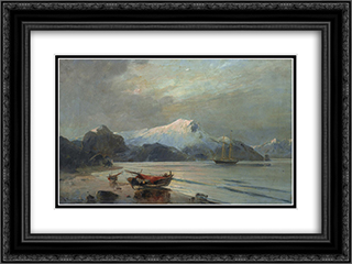 Bay with boats 24x18 Black or Gold Ornate Framed and Double Matted Art Print by Konstantinos Volanakis