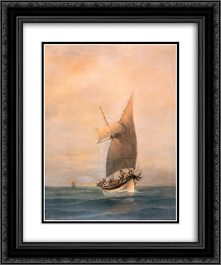 Boat 20x24 Black or Gold Ornate Framed and Double Matted Art Print by Konstantinos Volanakis