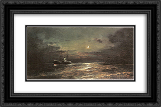 Boat at moonlight 24x16 Black or Gold Ornate Framed and Double Matted Art Print by Konstantinos Volanakis