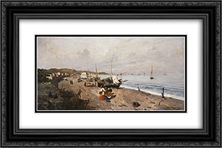 Boats and Children on the Beach 24x16 Black or Gold Ornate Framed and Double Matted Art Print by Konstantinos Volanakis