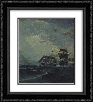 Boats at the sea 20x22 Black or Gold Ornate Framed and Double Matted Art Print by Konstantinos Volanakis