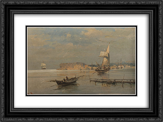 Boats in a port 24x18 Black or Gold Ornate Framed and Double Matted Art Print by Konstantinos Volanakis
