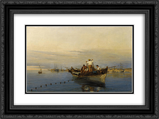 Casting the nets 24x18 Black or Gold Ornate Framed and Double Matted Art Print by Konstantinos Volanakis