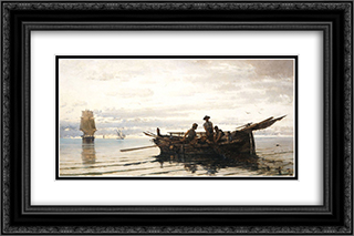 Collecting the Nets 24x16 Black or Gold Ornate Framed and Double Matted Art Print by Konstantinos Volanakis