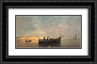 Fishing boat at dusk 24x16 Black or Gold Ornate Framed and Double Matted Art Print by Konstantinos Volanakis