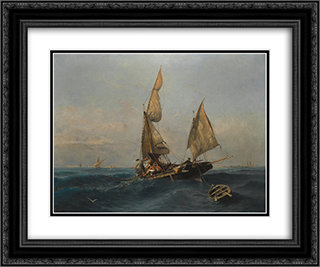Fishing boat in choppy waters 24x20 Black or Gold Ornate Framed and Double Matted Art Print by Konstantinos Volanakis