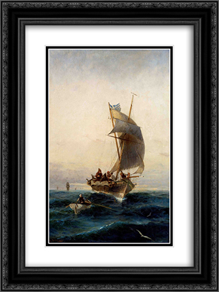 Fishing boat on choppy waters 18x24 Black or Gold Ornate Framed and Double Matted Art Print by Konstantinos Volanakis