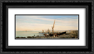 Fishing boats 24x14 Black or Gold Ornate Framed and Double Matted Art Print by Konstantinos Volanakis