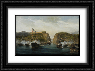 Inauguration of Corinth canal 24x18 Black or Gold Ornate Framed and Double Matted Art Print by Konstantinos Volanakis