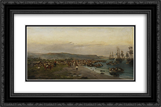 Karaiskakis, Faliro 24x16 Black or Gold Ornate Framed and Double Matted Art Print by Konstantinos Volanakis