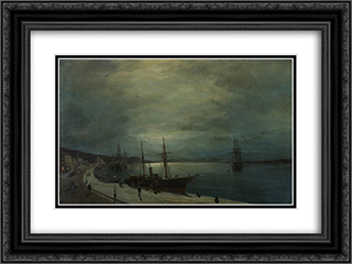 Moonlit harbour 24x18 Black or Gold Ornate Framed and Double Matted Art Print by Konstantinos Volanakis