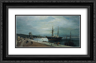 Moonlit harbour of Volos 24x16 Black or Gold Ornate Framed and Double Matted Art Print by Konstantinos Volanakis