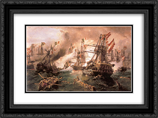 Naval battle at Lissa 24x18 Black or Gold Ornate Framed and Double Matted Art Print by Konstantinos Volanakis