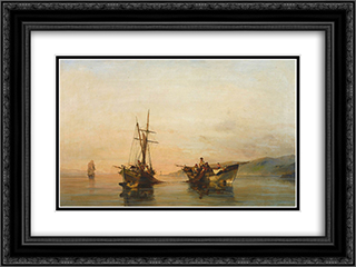 On calm waters 24x18 Black or Gold Ornate Framed and Double Matted Art Print by Konstantinos Volanakis