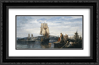 Outside the harbor 24x16 Black or Gold Ornate Framed and Double Matted Art Print by Konstantinos Volanakis