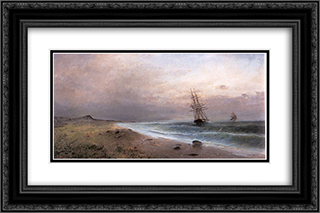 Sailing ships 24x16 Black or Gold Ornate Framed and Double Matted Art Print by Konstantinos Volanakis