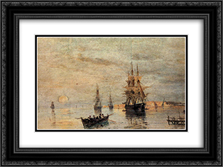 Sailing ships at dawn 24x18 Black or Gold Ornate Framed and Double Matted Art Print by Konstantinos Volanakis