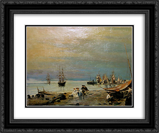 Seascape 24x20 Black or Gold Ornate Framed and Double Matted Art Print by Konstantinos Volanakis