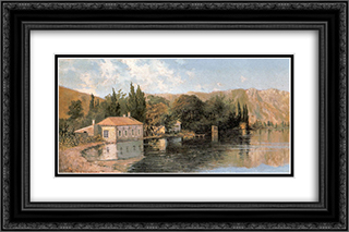Seashore of Poros 24x16 Black or Gold Ornate Framed and Double Matted Art Print by Konstantinos Volanakis