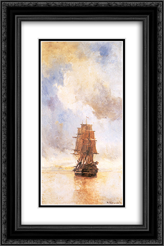 Ship 16x24 Black or Gold Ornate Framed and Double Matted Art Print by Konstantinos Volanakis