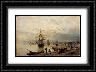 Sunset at the seashore 24x18 Black or Gold Ornate Framed and Double Matted Art Print by Konstantinos Volanakis
