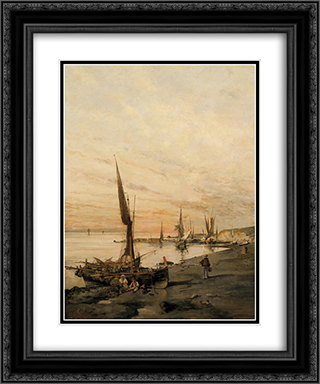 Sunset over the bay 20x24 Black or Gold Ornate Framed and Double Matted Art Print by Konstantinos Volanakis