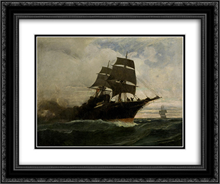 Surging through the seas 24x20 Black or Gold Ornate Framed and Double Matted Art Print by Konstantinos Volanakis
