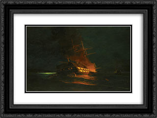 The burning of a Turkish frigate 24x18 Black or Gold Ornate Framed and Double Matted Art Print by Konstantinos Volanakis
