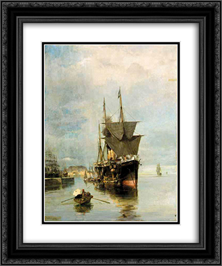 The disembarkation 20x24 Black or Gold Ornate Framed and Double Matted Art Print by Konstantinos Volanakis