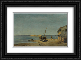 The fisherman's home on the beach 24x18 Black or Gold Ornate Framed and Double Matted Art Print by Konstantinos Volanakis