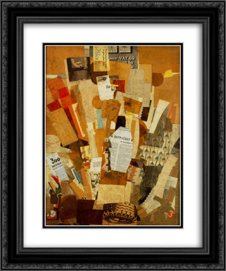 (Difficult) 20x24 Black or Gold Ornate Framed and Double Matted Art Print by Kurt Schwitters