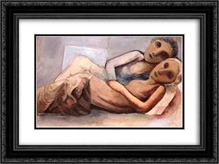 Duas Figuras 24x18 Black or Gold Ornate Framed and Double Matted Art Print by Lasar Segall