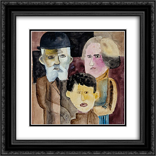 Familia 20x20 Black or Gold Ornate Framed and Double Matted Art Print by Lasar Segall